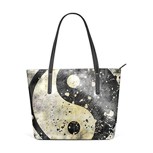 b7c757bb2d05a COOSUN Yin Yang Symbol auf Grunge schwarz und weiß PU Leder Schultertasche  Handtasche und Handtaschen Tasche ...