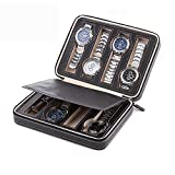 Aco&bebe House Black Zippered Watches Box Travel Case - Watch Organizer Collection - Top Grade Carbon Fibre PU Leather (Black-8 Slots)