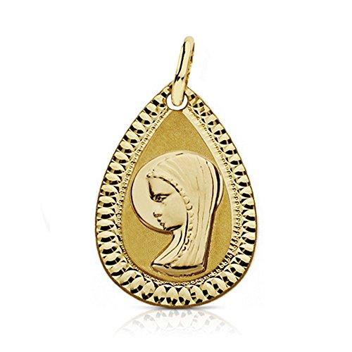 Médaille pendentif Virgin Fille 18k de 20mm d'or. larme sculpté [AA7271]