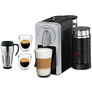 Nespresso Prodigio Smart Connected Coffee and Espresso Maker and Milk Frother (Silver)with 2x DeLonghi Double Walled Thermo Espresso Glass & Copco 24-Ounce Big Joe Thermal Travel Mug