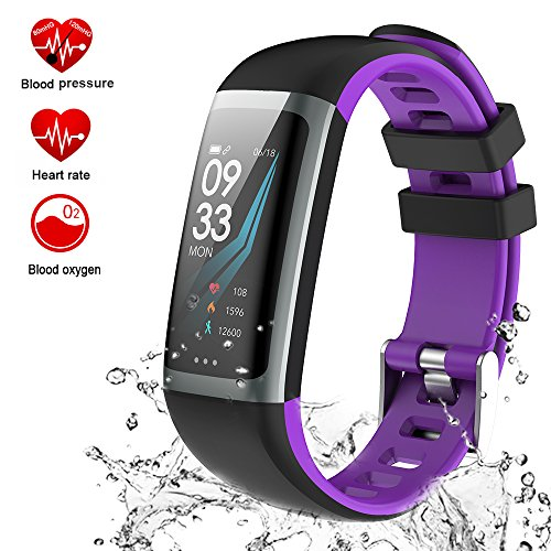 TEYO Fitness Tracker Watch, Activity Tracker Smart Watch Heart Rate Blood Pressure Monitor Watch, Sleep Monitor Step Calorie Counter Color Screen Smart Band, Pedometer Watch, IP67 Waterproof (Purple)