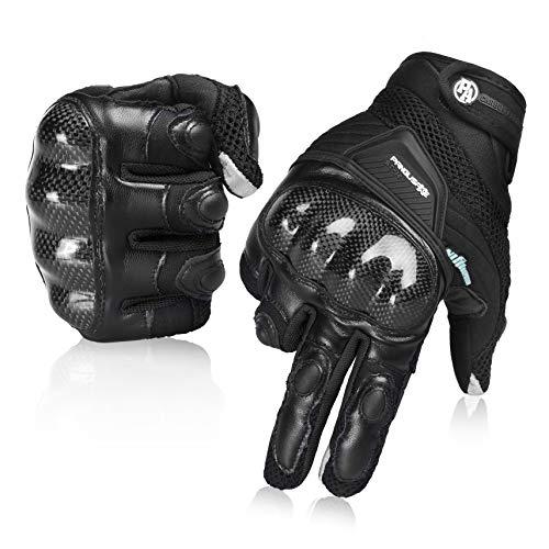Sommer Motorradhandschuhe Atmungsaktive Motorradhandschuhe Leder Vollfinger Knöchelschutzpolster Touchscreen