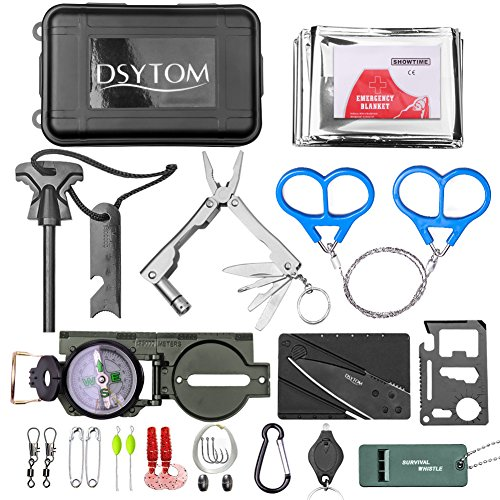 Dsytom 27-in-1 Survival Kit Outdoor Survival Emergency Kit Tactical Outdoor Gears with Fishing line,Emergency Blanket,Carabiner,Mini Lights,Compass,Fire Starters for Camping,Hiking,Hunting