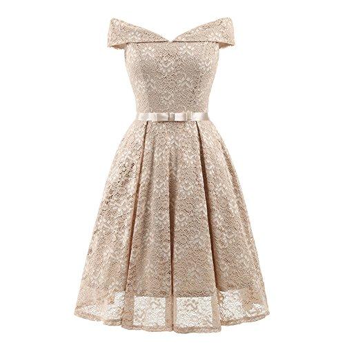 Damen Elegante Schulterfrei Brautjungfer Kleid Lace Floral ...