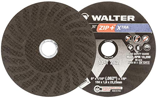 Walter Surface Technologies ZIP+ Superior Performance Cutoff Wheel, Type 1, Round Hole, Aluminum Oxide, 6