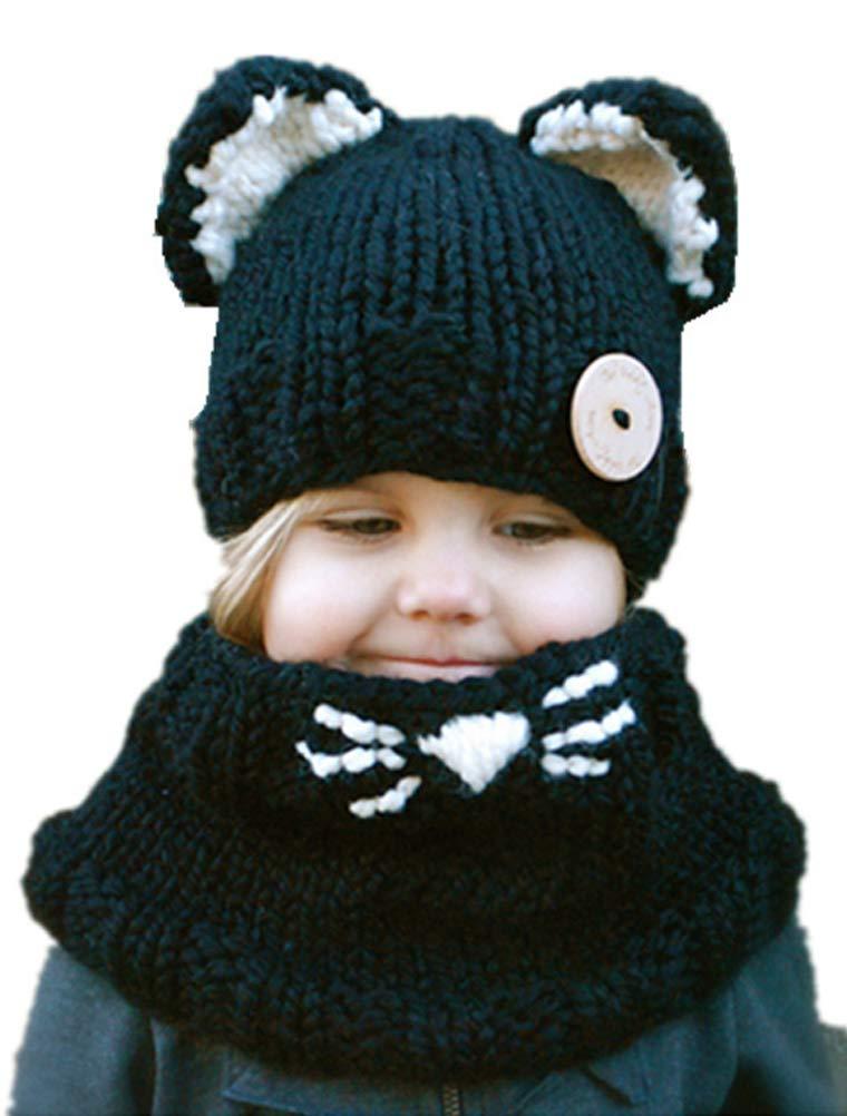 ARAUS Cappuccio Sciarpa Caps Cappello Earflap Gatto Scialli Animale da Bimbo Bambini Lavorato a Maglia Invernale Caldo Richoose Coif Caldo Della Protezione