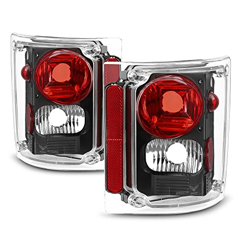 VIPMOTOZ For 1973-1987 Chevy GMC C/K 1500 2500 3500 Pickup Suburban Tail Lights - Matte Black Housing, Driver and Passenger Side ()