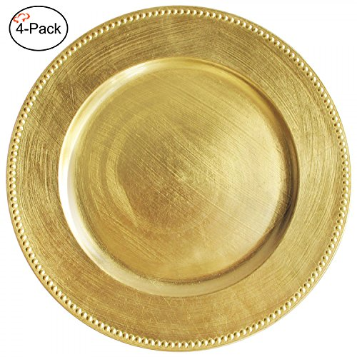 Tiger Chef 13-inch Gold Round Beaded Charger Plates, Set of 2,4,6, 12 or 24 Dinner Chargers (4-Pack)