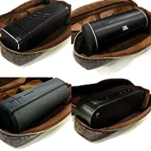 Tuff-Luv Herringbone Tweed Nfc Travel Case for Bluetooth Speakers Including (Anker SoundCore, Ministry of Sound Audio S, UE Boom 2, Sony SRS-X2, VAVA Voom 20, JVC SP-ABT1, Jam Heavy Metal, TaoTronics, SHARKK Boombox, Beats Pill+ ) with Nfc Tag - Brown
