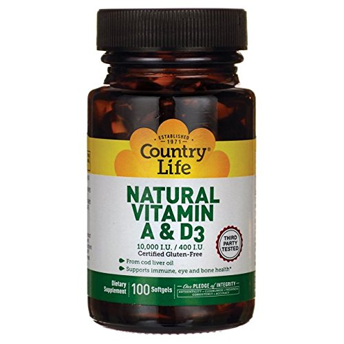 Country Life - Natural Vitamin A and D3, 10000 IU/ 400 IU - 100 (Country Life Natural Vitamin)