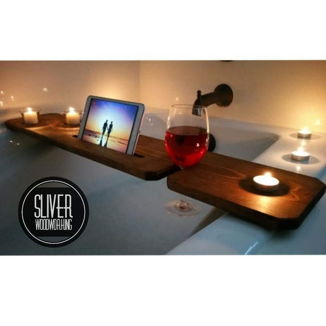 Bathtub Tray Caddy, Tub Tray with Tablet Holder, Sliver Woodworking