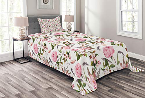 Lunarable Flower Bedspread Set Twin Size, Apple and Cherry Flowers Blossoms Feathers Shabby Classical Botanic Retro, Decorative Quilted 2 Piece Coverlet Set with Pillow Sham, Pale Pink Green Gray