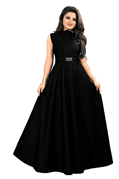 51705e1945b vaidehi creation Women s Twill Tafeta Anarkali Style Gown for Girl (Black)