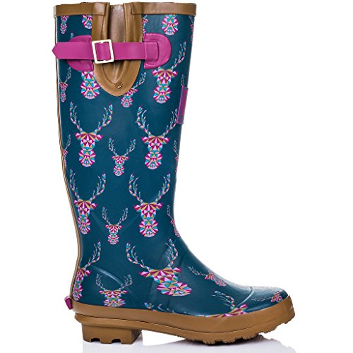 SPYLOVEBUY Welly Adjustable Buckle Stag Women's Boots Flat IGLOO Rain 6qq17wgr