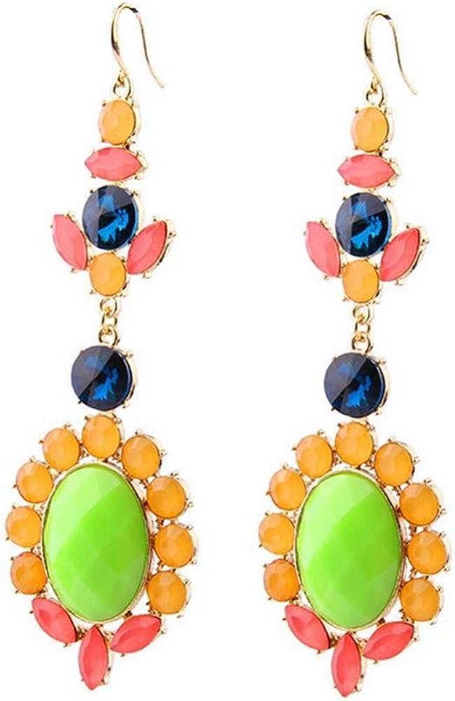 ZRDMN Joyas de oreja de aleación europea y americana Joyas de piedras preciosas Pendientes de diamantes Flor Pendientes para niña Pendientes para mujer