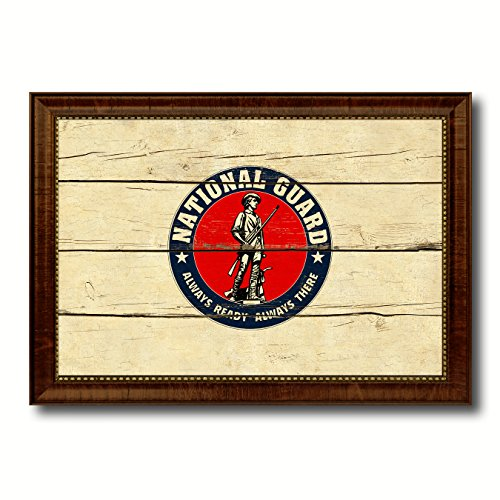 Seal of the United States National Guard Military Vintage Flag Brown Framed Canvas Print Home Decor Wall Art Gifts Signs Cards, 15