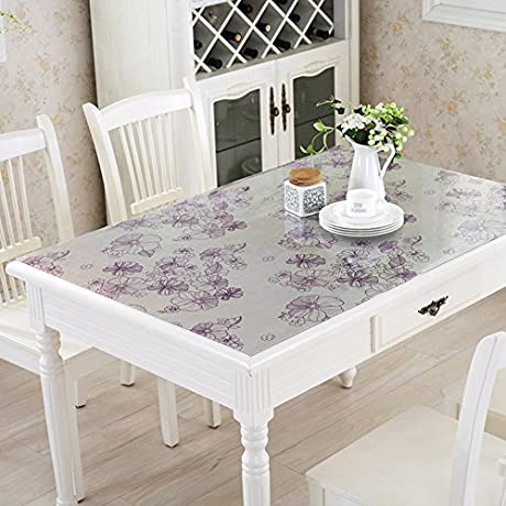 PVC Table Cloth Waterproof Oil Proof Disposable Soft Glass Table Mat High Temperature Resistance Anti Aging Coffee Table Pad Tablecloth E 90x160cm 35x63inch