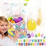 "Tub Cubby Bath Toy Organizer + 36 Soft Foam ABC 123 Letters & Numbers - 14x20"" Mesh Net with 3 Bins Keep Kids Bathtub Games Dry - Shower Caddy Storage Set 4 Suction & Sticker Hooks"