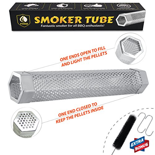 Fydio Premium Smoker Tube 12 Inch  Stainless Steel Hexagon Tube   Perfect For Bbq   Tasty Smoke Flavor   Work On Any Grill Or Smoker With Hot Or Cold Smoking   Free Bonus  Tube Brush   2 S Hooks