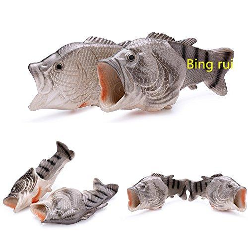 Bing Rui Co 3 Colori Pantofole Di Pesce Scarpe Da Spiaggia Sandali Antiscivolo Pantofole Di Pesce Creativo Uomini E Donne Scarpa Casual Argento