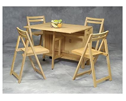 Amazon.com: Linon Space Saver Table & Chairs 5 Pc Set Natural Finish ...
