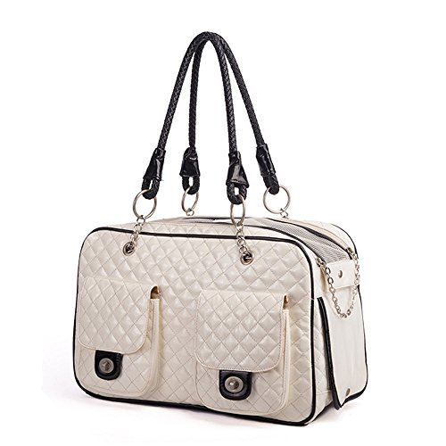 Luxury Pet Cat Small Dog Travel Carrier Bag Pu Leather Outdoor Foldable Portable Puppy Dog Chihuahua Carrying Tote Bag Handbag (S, White)