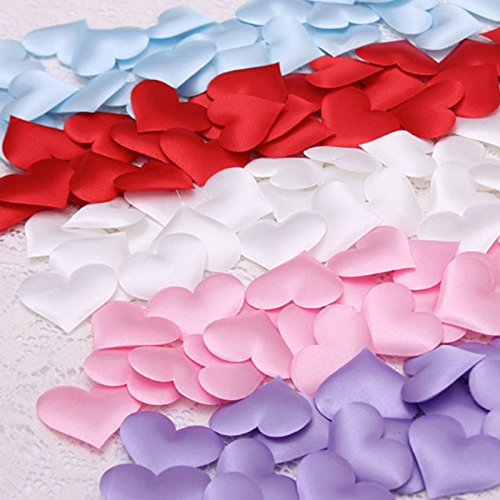 ACCENTORY DIY Satin Heart Shaped Fabric Artisficial Flower Petals Wedding Party Decoration Scatter Confetti Birthday Table Decoration Heart Confetti for Festive Occasions - Pink Shaped Flowers Heart