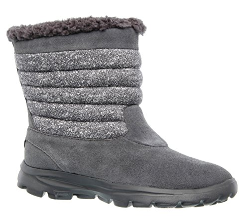 Skechers Go Walk Move-dedo del pie redondo resplandor de ante Botas marrones de invierno Gray