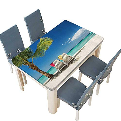 PINAFORE Polyesters Tablecloth Seaside Relaxing Scene On Remote with Chairs and Boats Panoramic Blue Green Wedding Birthday Baby Shower Party W29.5 x L69 INCH (Elastic Edge)