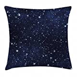 Ambesonne Night Throw Pillow Cushion Cover, Composition with Dots Night Sky Theme Abstract Style Arrangement Cosmos Concept, Decorative Square Accent Pillow Case, 16 X 16 Inches, Dark Blue White