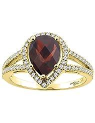 14K Gold Natural Garnet Ring Pear Shape 9x7 mm Diamond Accents, sizes 5 - 10