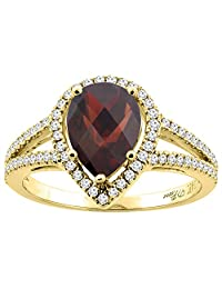14K Gold Natural Garnet Ring Pear Shape 9x7 mm Diamond Accents, sizes 5 - 10