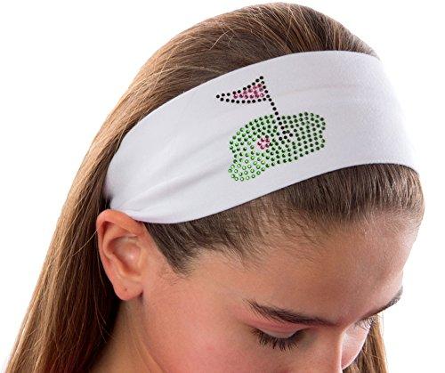 Golf Green Cotton Stretch Headband ~ Funny Girl Designs (White)