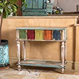 Leo Solid Wood 2 Drawer Console Table in Antique Weathered Multi-Color Style Review