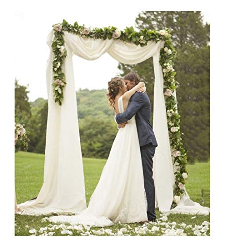 Wedding Arch Drapes Fabric 2 Panels 6 Yards White and Ivory Chiffon Fabric Drapery for Party Ceremony Stage Reception…
