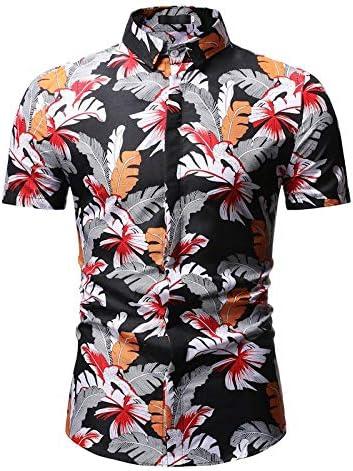 LFNANYI Mens Hipster Slim Fit Camisa con Botones de Manga Corta Casual Estampado Floral Camisa Hawaiana Hombres Summer Beach Hawaii Camisa Hombre 3XL: Amazon.es: Deportes y aire libre