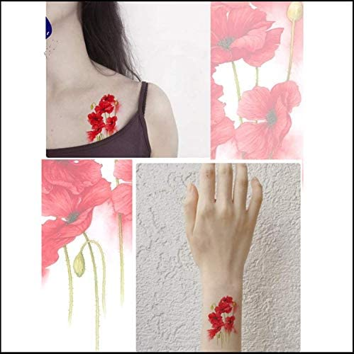 ruofengpuzi Etiqueta engomada del tatuaje Flor De Amapola ...