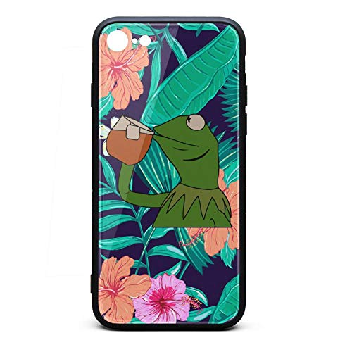 Black Tropical Flowers Floral Funny-Green-Frog-Sipping-Tea-Phone Case Back Cover for Iphone7/Iphone8 Fashionable Non-Slip 3D Printed PC TPU Shockproof Anti-Scratch ()