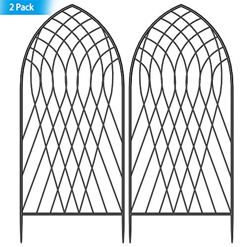 "Amagabeli 2 Pack Large Garden Trellis for Climbing Plants 75"" x 31"" Heavy Duty Rustproof Iron Plant Trellis for Potted Plants Support Tall Wall Metal Trellis for Rose Vines Vegetables Cucumber, Black"