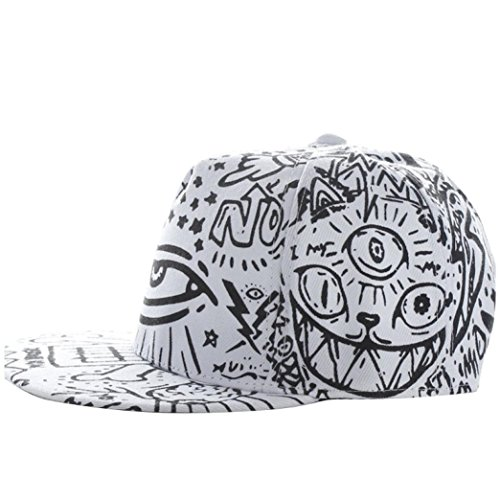 [Winhurn 2016 Fashion Vintage Baseball Flat Bill Hat Hippie Eye Hiphop Adjustable Cap (White)] (Hip Hop Felt Hat With Feather)