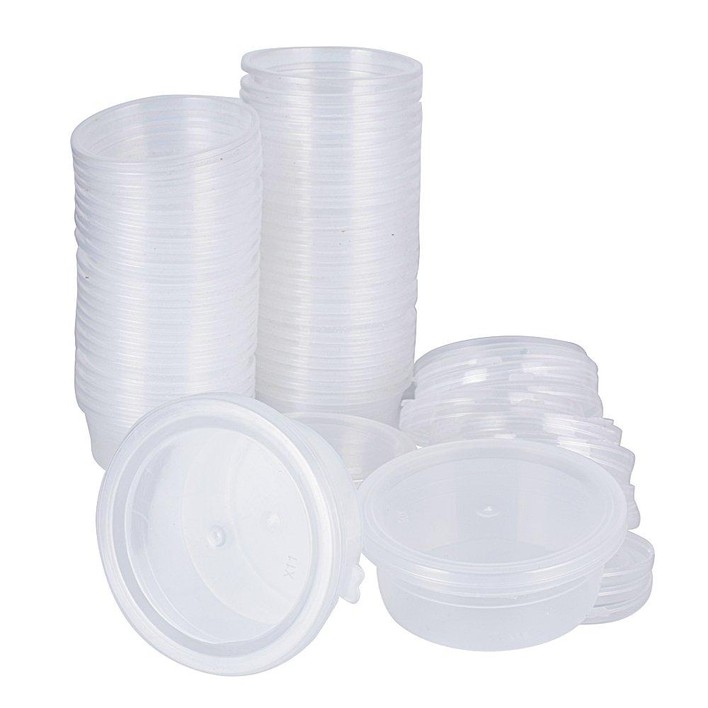 48 Stück Slime Box Behälter Container Aufbewahrungsbehälter Schleim Box Slime Zubehör Schaumball Kunststoffbox Plastikbox Vorratsbehälter mit Deckel Transparent 6, 8 x 5, 5 cm DEOMOR