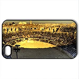 arena at nimes hdr - Case Cover for iPhone 4 and 4s (Ancient Series, Watercolor style, Black)