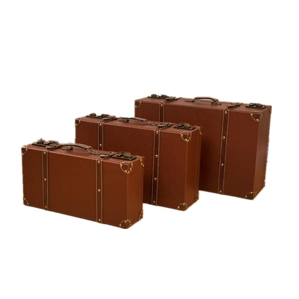 Vintage Koffer Set von 3 Weinlese-Koffer Trunk Chest Antike Kleidung-Speicher-Box Schatztruhe Koffer Toy Box, Decke Box (Größe: groß + mittel + klein) für Schlafzimmer, Wohnzimmer