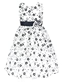 go2victoria Organza Party Bridesmaids/Flower Girl Tea-Length Embroidery Dress Black & White 4 Years (BK2309-4#)