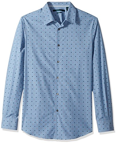 Perry Ellis Men's Long Sleeve Dot Printed Shirt, Aegean Blue, Extra Large