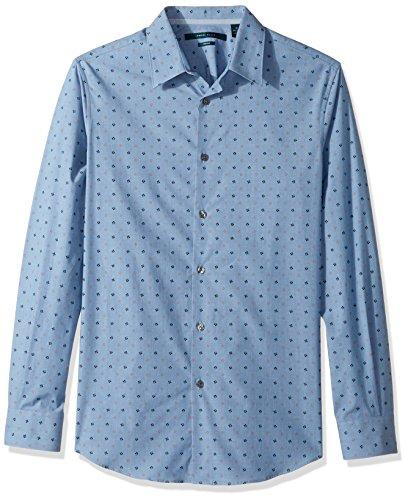 (Perry Ellis Men's Long Sleeve Dot Printed Shirt, Aegean Blue, Extra Large)