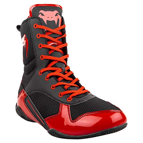 VENUM Elite Boxing Shoes - Black/Red - Size 8.5 (42)