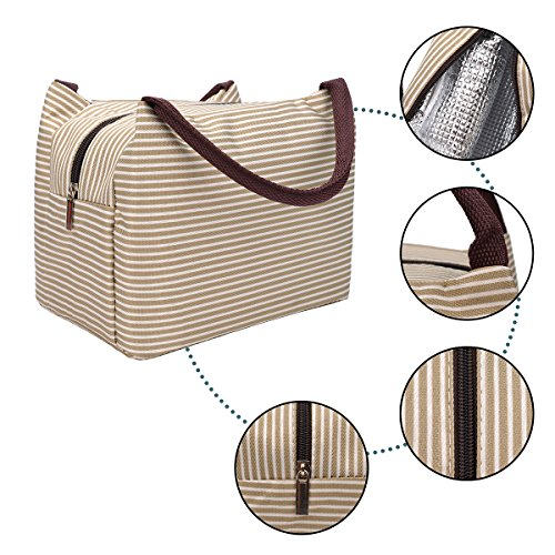 OZCHIN Insulated Lunch Bag for Women Compact Reusable Lunch Tote Cooler Bag Handbag for Adults Kids Students (Creamy Beige) by OZCHIN (Image #4)