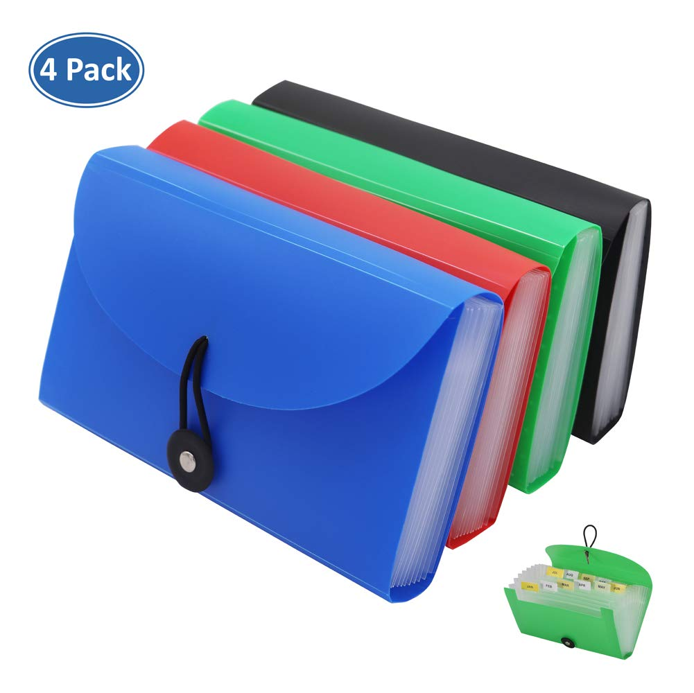 Expanding File Folders 4 Pack, SEEKIND 7.1''4.2'' Receipt Organizer Folder Accordion Folder Document with 13 Pocket for Office,Cards,Tickets-Water Resistant by SEEKIND