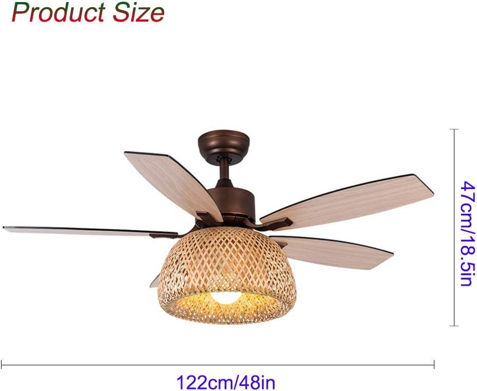 48 pulgadas de bambú luz LED Ventilador de techo chino Ventilador ...